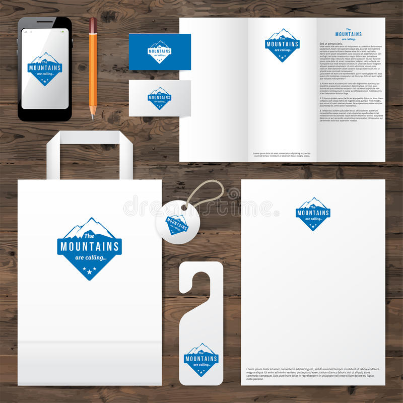 Identity template with mountain logo design royalty free illustration