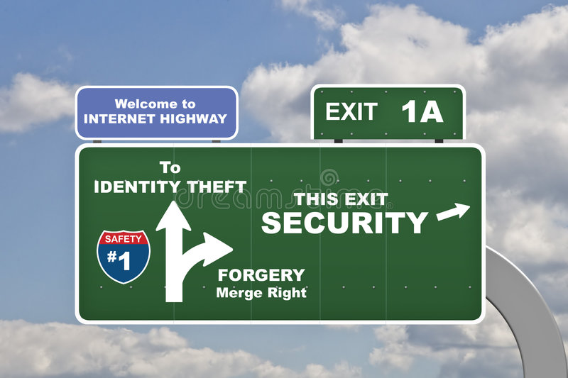 Identity Theft. Various concept identy theft labels on signs