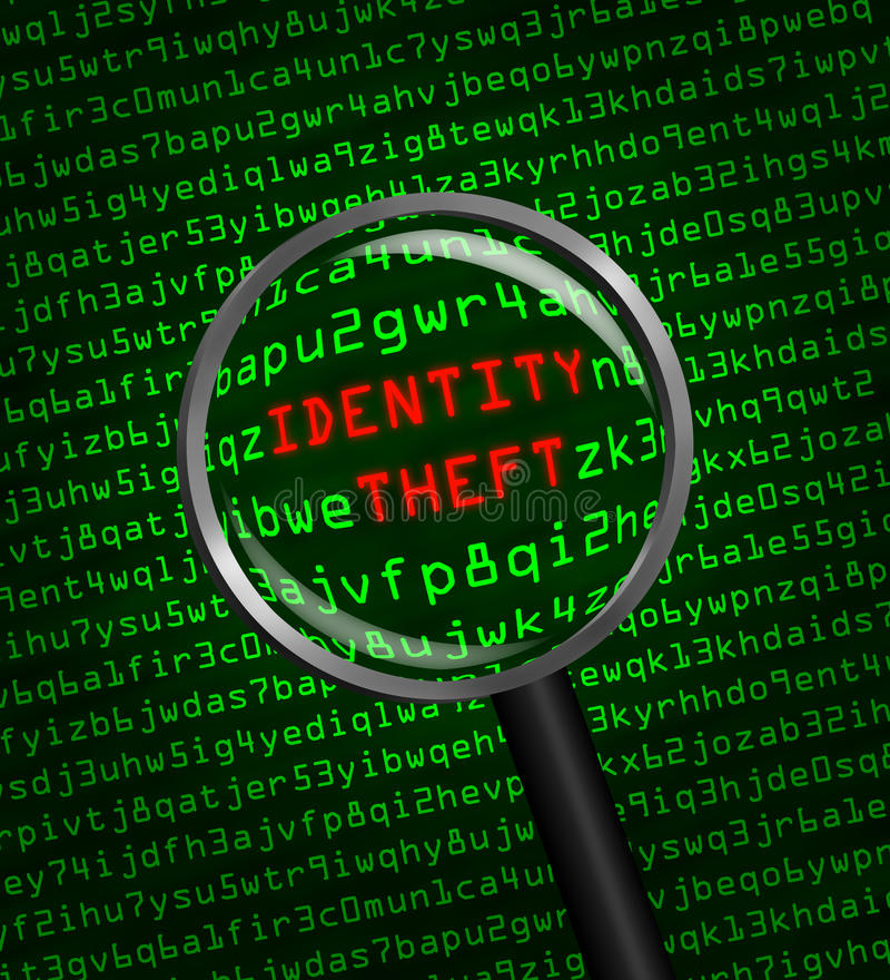 Identity Theft revealed in computer code through magnifying glass royalty free illustration
