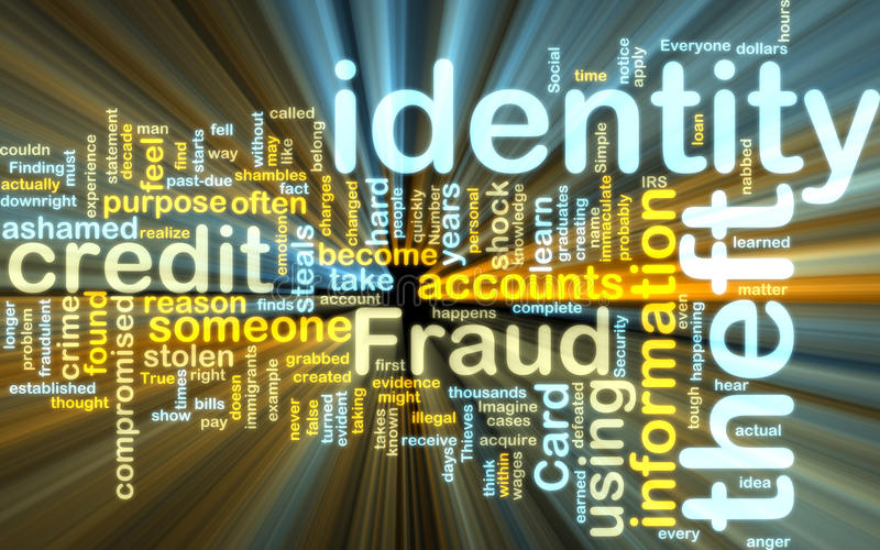 Identity theft wordcloud glowing vector illustration