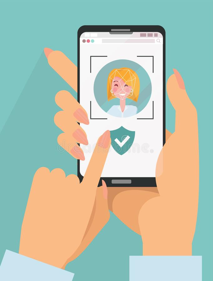 Free Identity Verification. Face Detect And Recognition. Scanning Process On Screen Mobile. Young Woman Holds A Smartphone In Her Hands Royalty Free Stock Images - 158174029