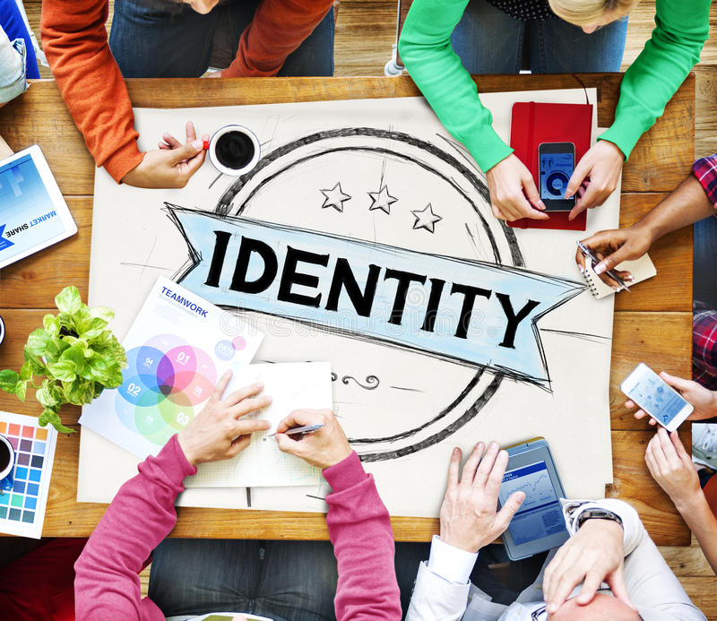 Identitäts-Branding-Marketing-Copyright-Marken-Konzept stockfotos