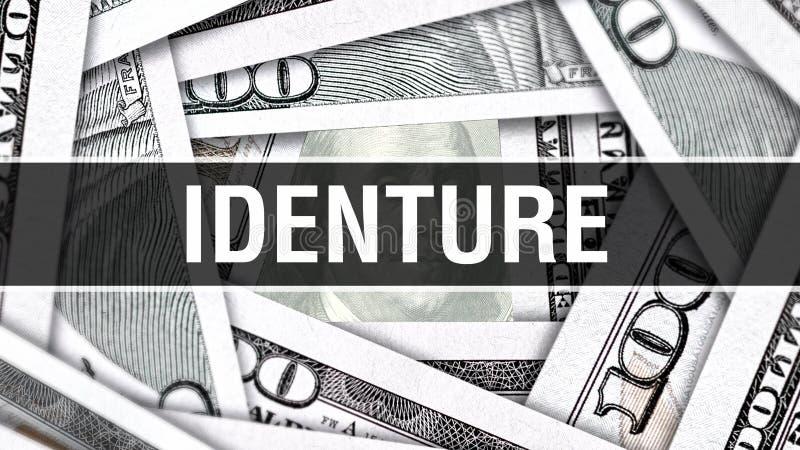 Identure Closeupbegrepp Amerikanska dollar kontanta pengar, tolkning 3D Identure på dollarsedeln Finansiell Comm för USA pengarse royaltyfri illustrationer