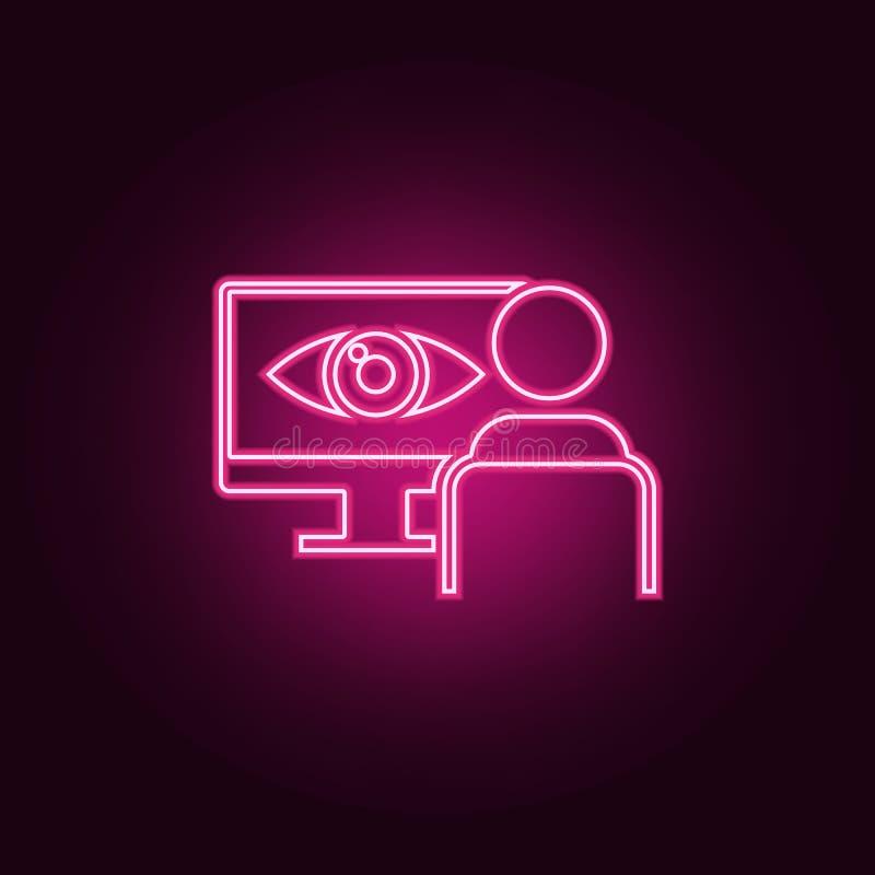 identyfikacja oko na monitor ikonie Elementy cyber ochrona w neonowych stylowych ikonach Prosta ikona dla stron internetowych, si ilustracji