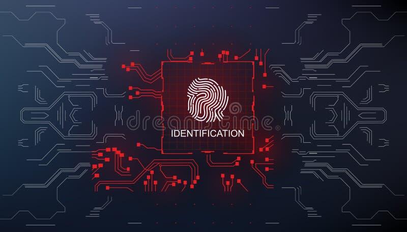 Identyfikacja, palca obraz cyfrowy w futurystycznym stylowym biometrycznym id z futurystycznym hud interfejsu odcisku palca skane royalty ilustracja