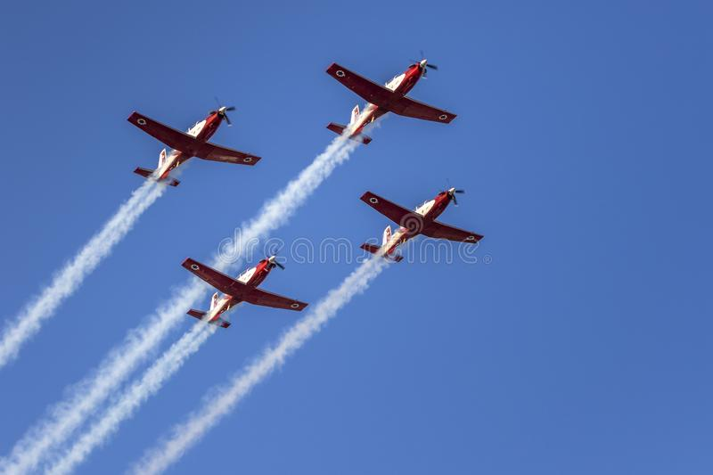 IDF aerobatic team 4 North American T-6 Texan Mk.II. IDF aerobatic team using 4 North American T-6 Texan Mk.II for formation flight and aerial tricks in air show royalty free stock image