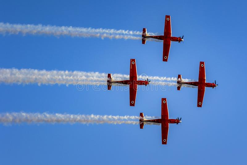 IDF aerobatic team 4 North American T-6 Texan Mk.II. IDF aerobatic team using 4 North American T-6 Texan Mk.II for formation flight and aerial tricks in air show royalty free stock photography