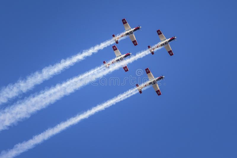 IDF aerobatic team 4 North American T-6 Texan Mk.II. IDF aerobatic team using 4 North American T-6 Texan Mk.II for formation flight and aerial tricks in air show stock images