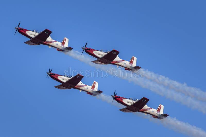 IDF aerobatic team 4 North American T-6 Texan Mk.II. IDF aerobatic team using 4 North American T-6 Texan Mk.II for formation flight and aerial tricks in air show stock photography
