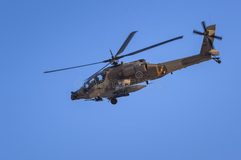 IDF Boeing AH-64 Apache helicopter. Chopper in an air show in israel royalty free stock photos