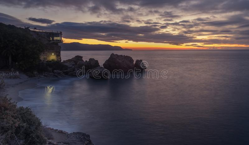 Idilic sunrise in coast village stock photo