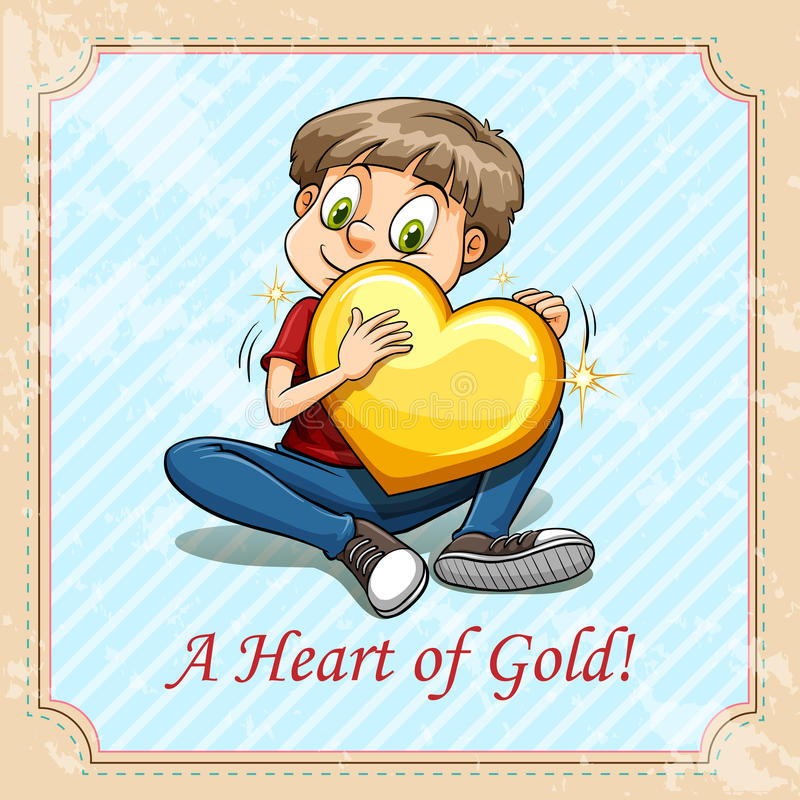 Idiom heart of gold stock illustration