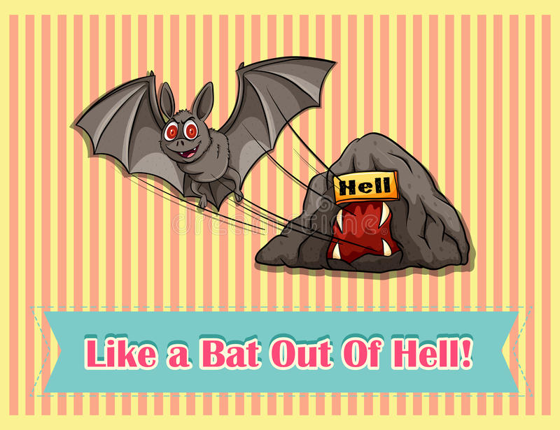 Idiom like a bat out of hell vector illustration