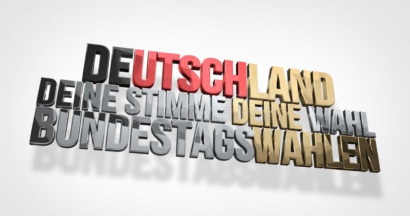 Idioma alemão para Alemanha sua voz que seu voto 3d renda ilustração royalty free