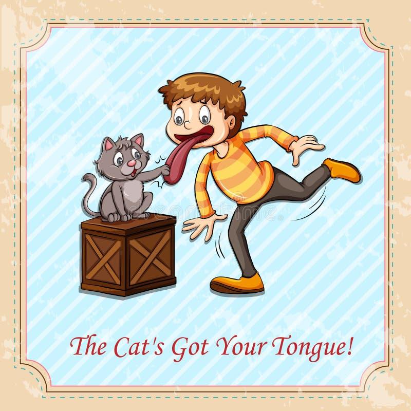 Idiomu kot dostać twój jęzor royalty ilustracja