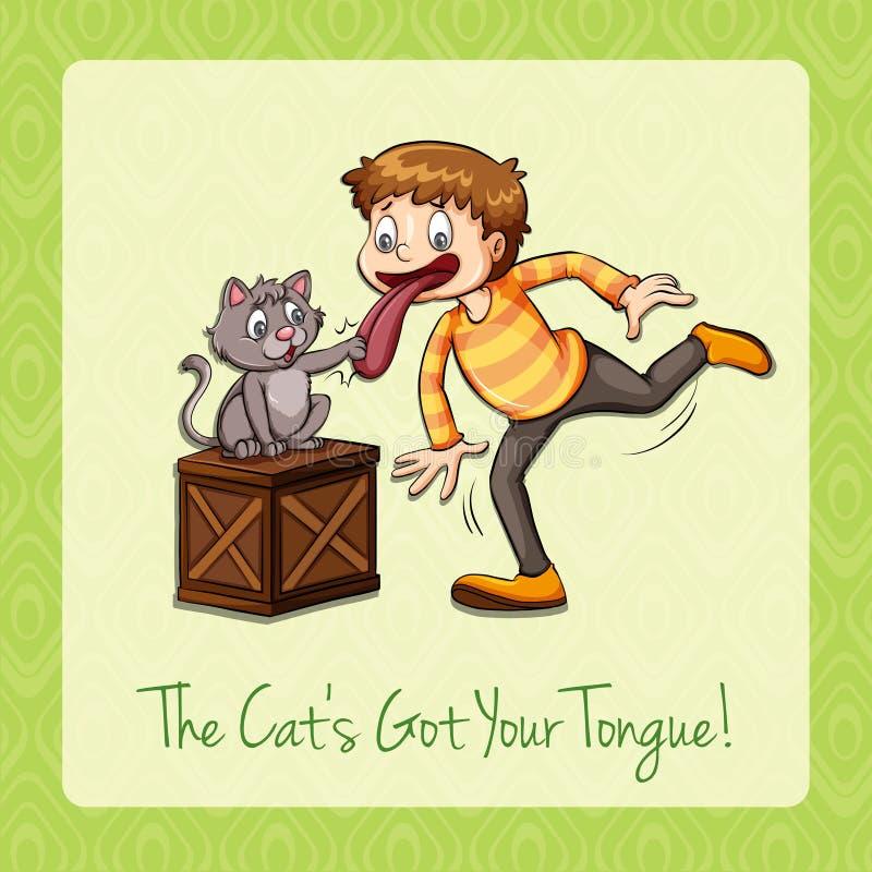 Idiomu kot dostać twój jęzor ilustracji