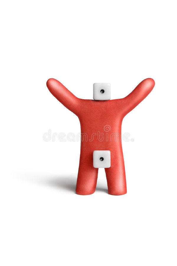 Idiot-impotent(naive). Metaphorical portray of an idiot-impotent of red plasticine and dice royalty free stock photos