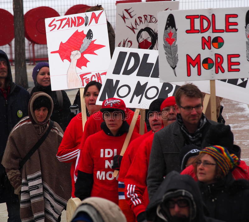 Idle No More Protesters. At Churchill Square Edmonton Alberta royalty free stock photo