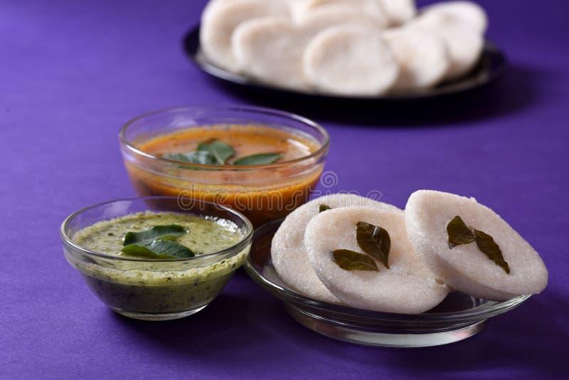 Idli用在紫罗兰色背景,印地安盘的水鹿和椰子酸辣调味品 库存照片