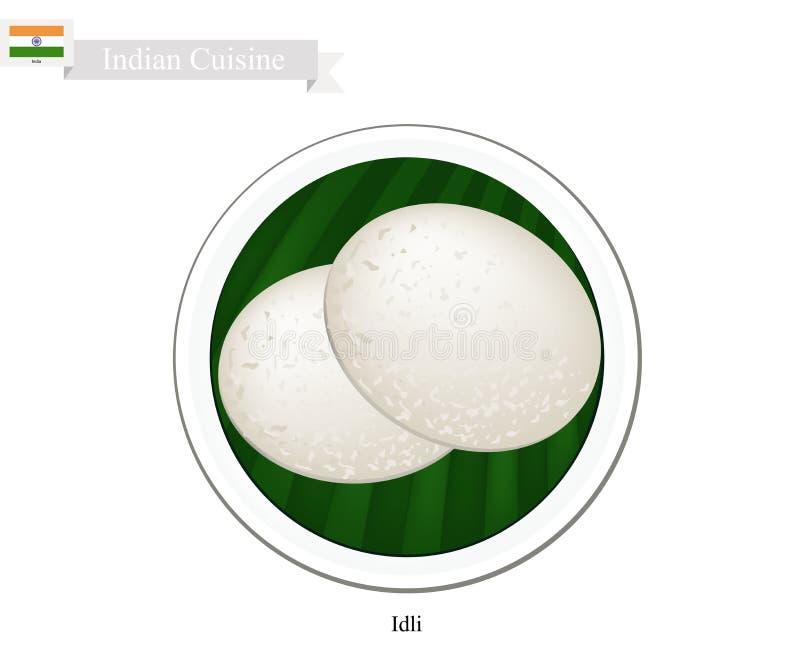 Idli или традиционным испаренный индейцем торт риса иллюстрация штока