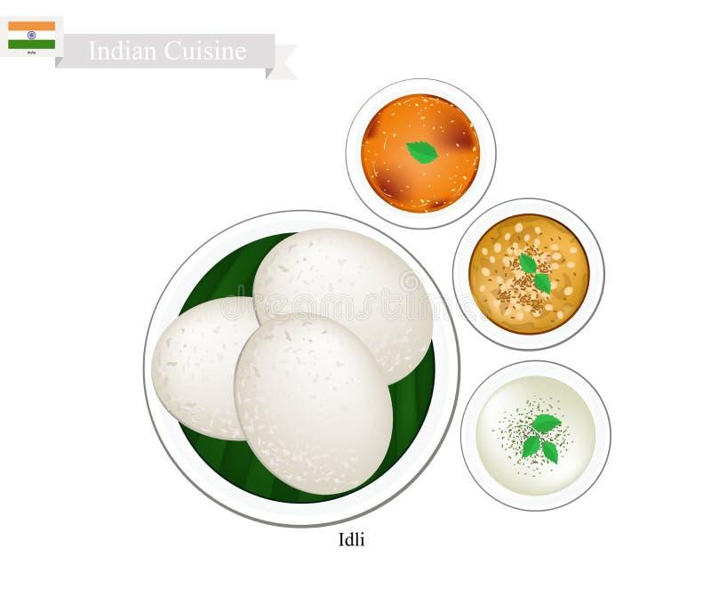 Idli o dolce di riso indiano con il chutney della noce di cocco e del Sambar illustrazione vettoriale