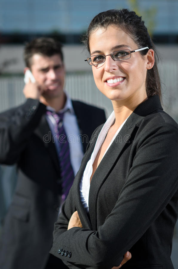 Idly beautiful business woman royalty free stock photo