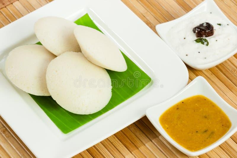 Idly / Idli with coconut chutney, sambar royalty free stock image