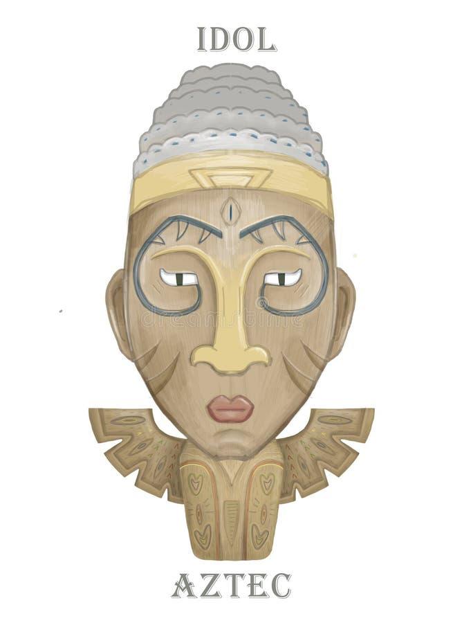 Idol azteca hawaii de madera. Dibujo de un ídolo aztec hawaii para diseño web aislado en fondo blanco Color de agua colorido libre illustration