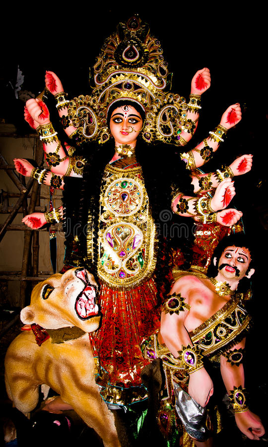 Idol of Geddess Durga stock photos
