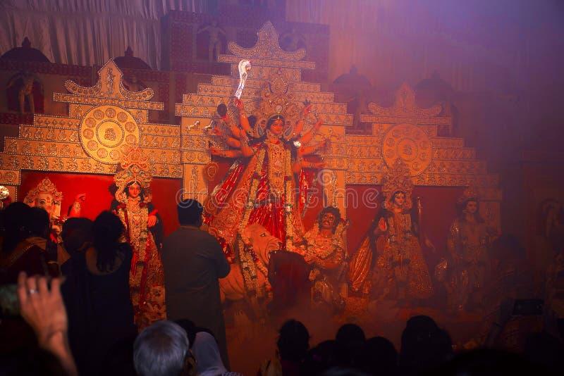 Idol of Goddess Durga. Festival is celebrated during the whole period of Navaratri for 10 days. Congress Bhawan, Pune, Maharashtra royalty free stock photography
