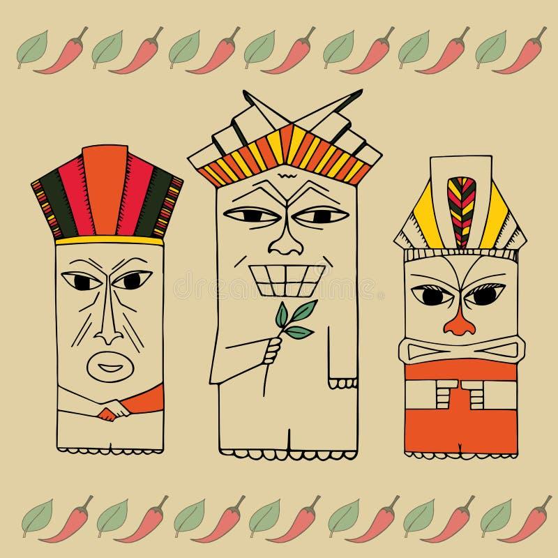 Idol ilustracja Śmieszni totemy wektorowi Klamerki sztuki plemienny set royalty ilustracja