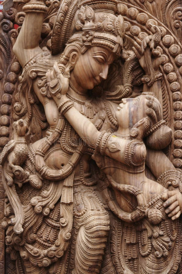 Idol of lord krishna. With radha his wife stock images