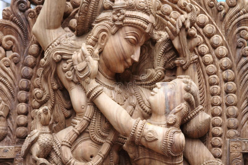 Idol of lord krishna. With his wife radha royalty free stock photography
