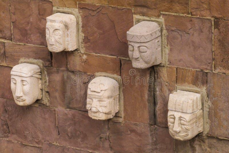 Idol statue heads from Tiwanaku stock photos
