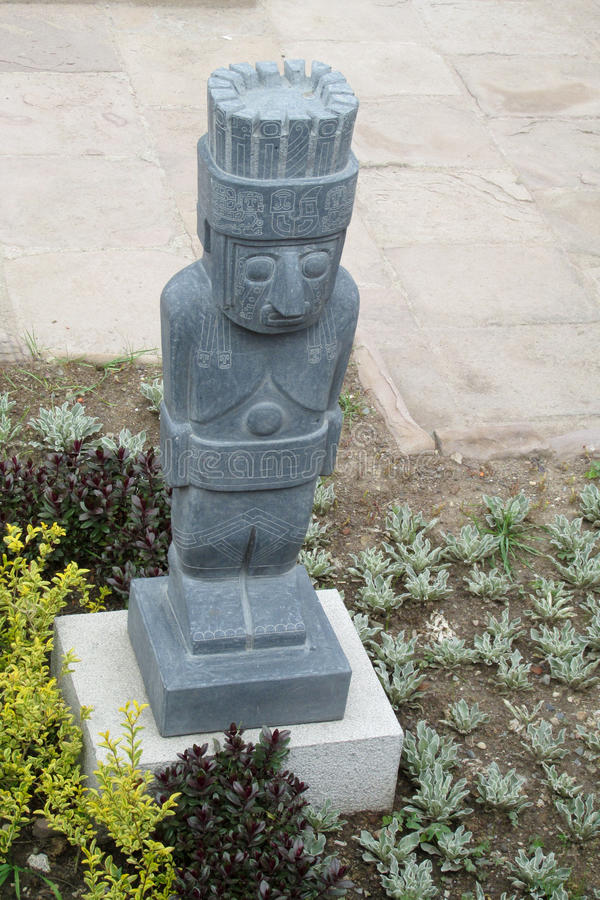 Idol statue from Tiwanaku. Ancient idol statues, sculptures from Tiwanaku inca archaeological site on the square in La Paz, Bolivia stock photography