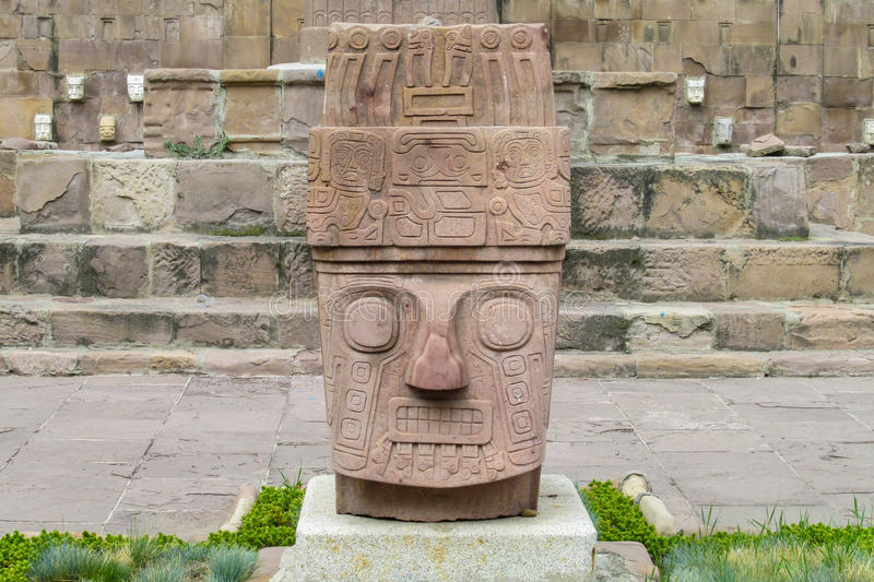 Idol statue from Tiwanaku. Ancient idol statues, sculptures from Tiwanaku inca archaeological site on the square in La Paz, Bolivia royalty free stock images