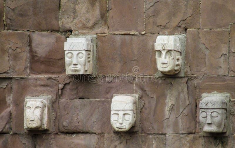 Idol statue from Tiwanaku in La Paz, Bolivia. Ancient idol statues, sculptures from Tiwanaku inca archaeological site on the square in La Paz, Bolivia stock photo