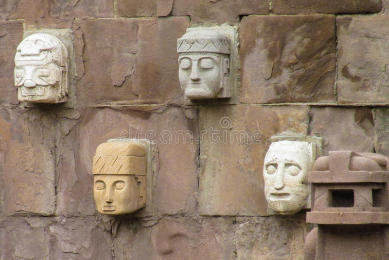 Idol statue from Tiwanaku in La Paz, Bolivia stock photos
