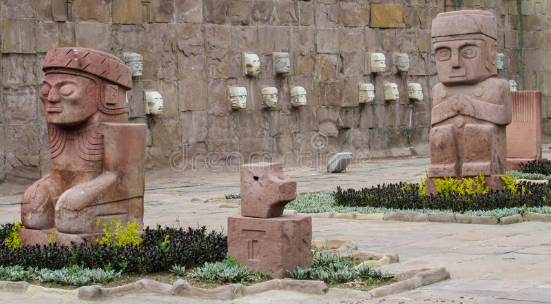 Idol statues from Tiwanaku. Ancient idol statues, sculptures from Tiwanaku inca archaeological site on the square in La Paz, Bolivia royalty free stock photography