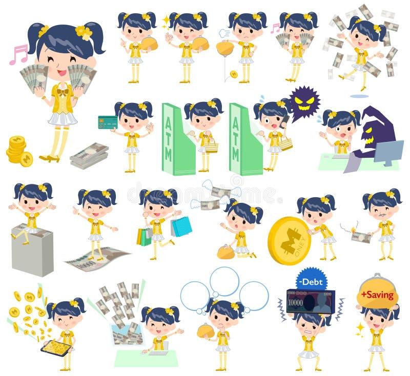 Idol w żółtym kostiumowym pieniądze royalty ilustracja