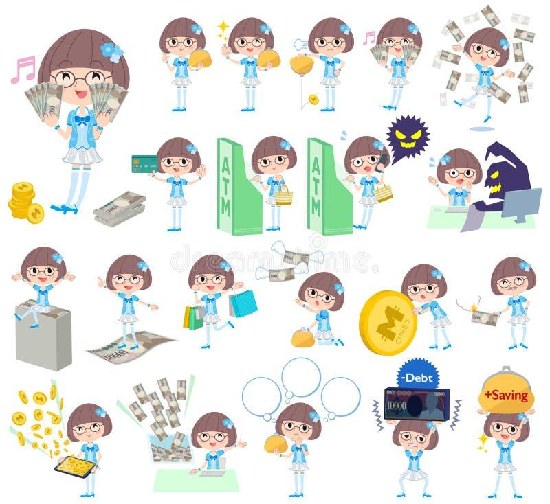Idol w błękitnym kostiumowym pieniądze ilustracja wektor