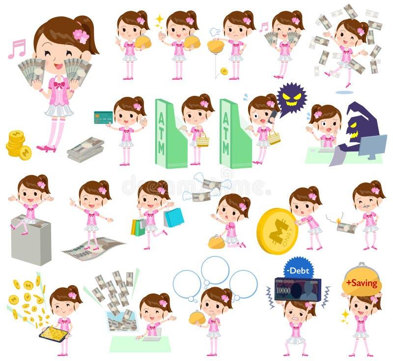 Idol w różowym kostiumowym pieniądze ilustracji
