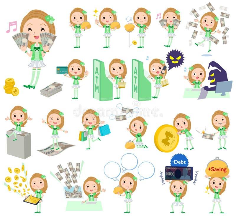 Idol w zielonym kostiumowym pieniądze royalty ilustracja