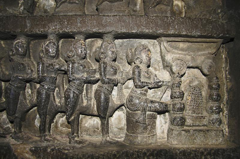 Idole découpé, vue intérieure de temple de Bhuleshwar, Pune, maharashtra photographie stock