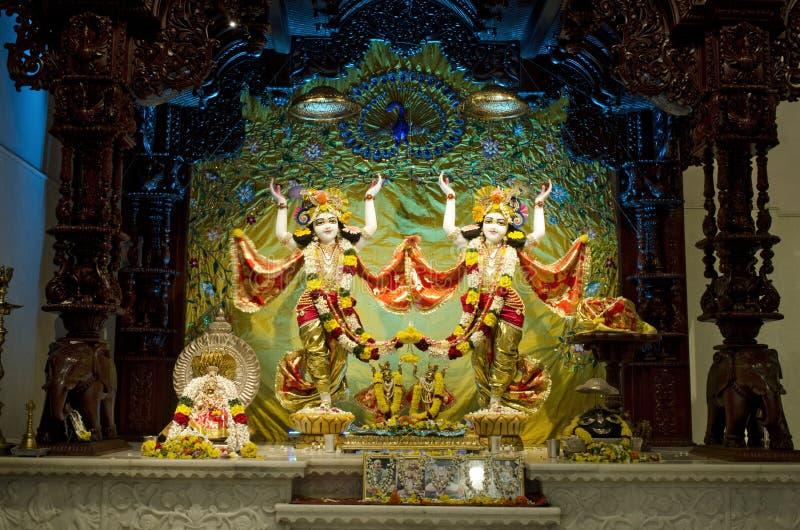 Idole władyka Krishna i Radha w ISKCON świątyni Chennai zdjęcie stock