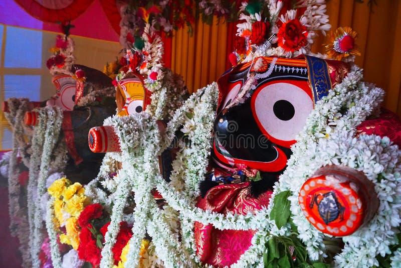 Idolen van God Jagannath, Balaram en Godin Suvadra, India royalty-vrije stock foto's