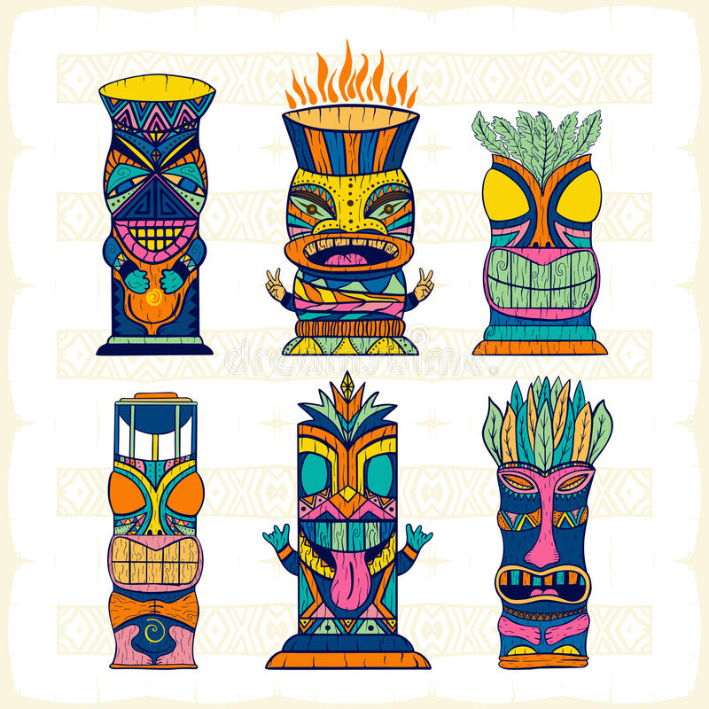 Idoles en bois colorés de Tiki de Polynésien, découpage de statue de dieux Illustration de vecteur illustration libre de droits