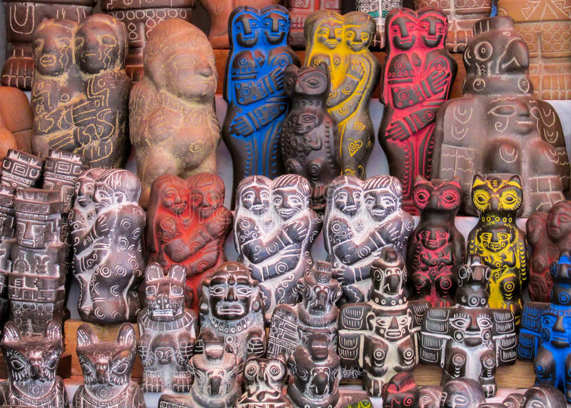 Idols at mercado de las brujas in Bolivia. South America souvenir traditional crafts gift shop, Bolivia. Native american Idols at mercado de las brujas in La Paz royalty free stock image