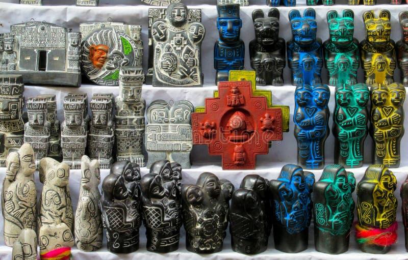 Idols at mercado de las brujas in Bolivia. South America souvenir traditional crafts gift shop, Bolivia. Native american Idols at mercado de las brujas in La Paz royalty free stock photos