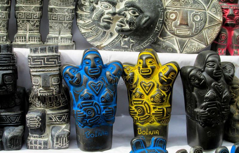 Idols at mercado de las brujas in Bolivia. South America souvenir traditional crafts gift shop, Bolivia. Native american Scaryl Idols at mercado de las brujas in stock photography